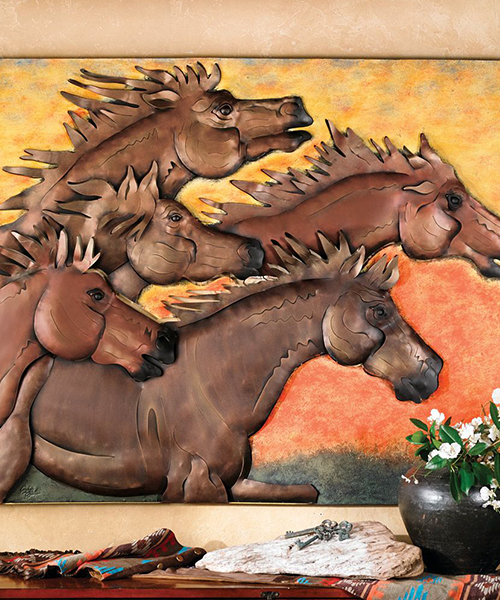 Sunset Horse Metal Wall Art