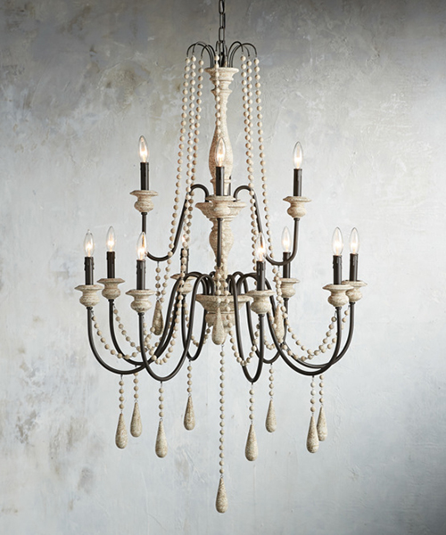 Farmhouse Wood Beads Chandelier