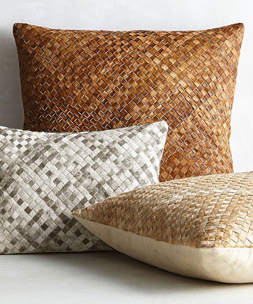 Woven Leather Hide Pillow