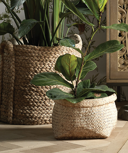 Woven Long Handle Planter