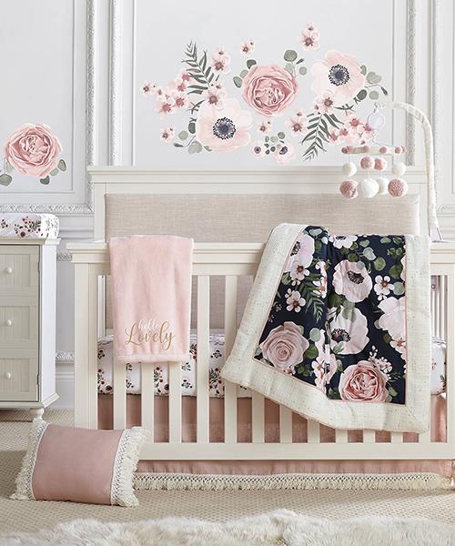 Baby Girl Bedding Set   Fiori Floral Crib Bedding