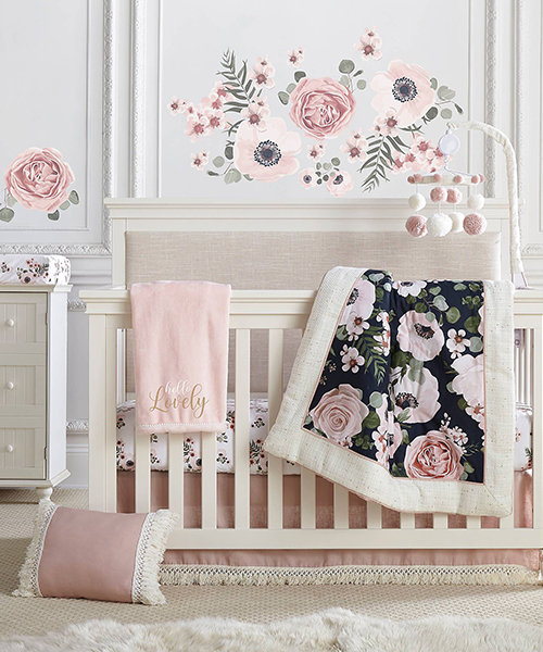 Baby Girl Bedding Set | Fiori Floral Crib Bedding