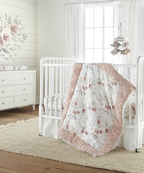 Girls Crib Bedding   Levtex Floral Baby Bedding