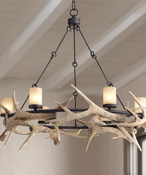 Franklin Iron Works Round Antler Chandelier