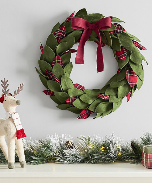 Plaid Felt Wreath