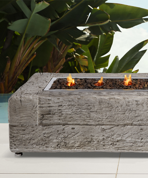 Grey Rustic Fire Pit Table