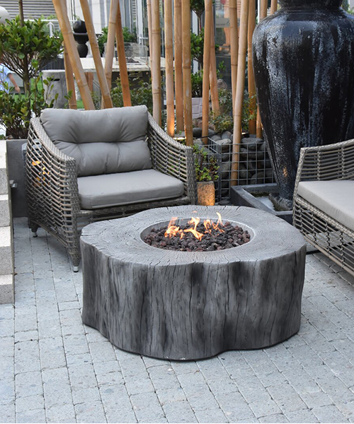Rustic Natural Gas Fire Pit Table