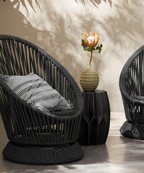 Black Outdoor Swivel Chair