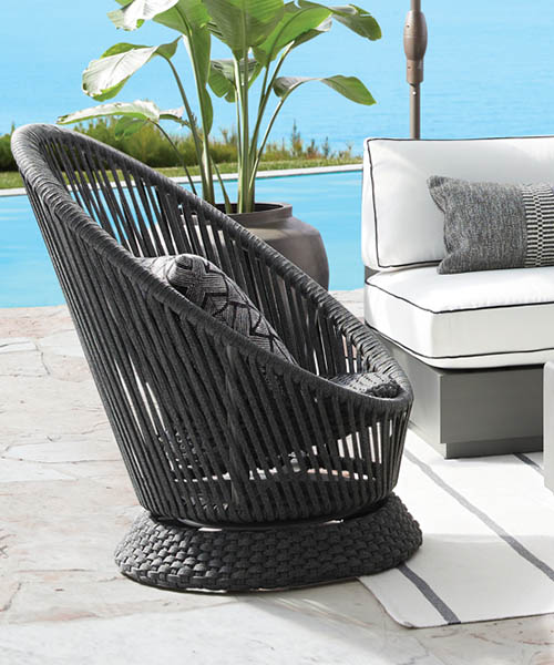 Black Outdoor Swivel Chair
