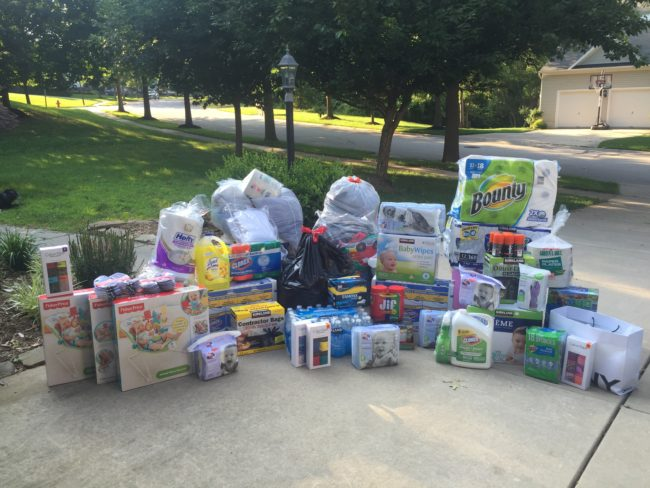 Batch of goods that a Counselor helped gather back at home for flood relief in Greenbrier County, West Virginia.