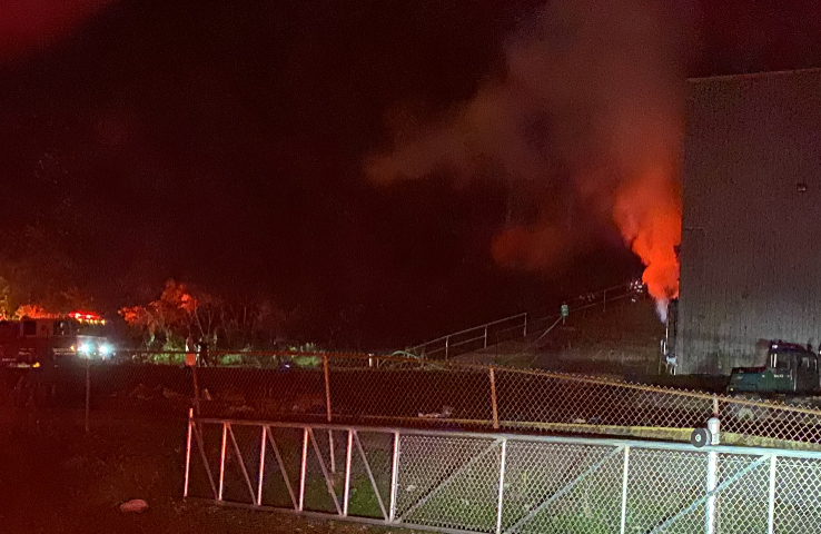 Firefighters Battling Large Fire at the County Landfill