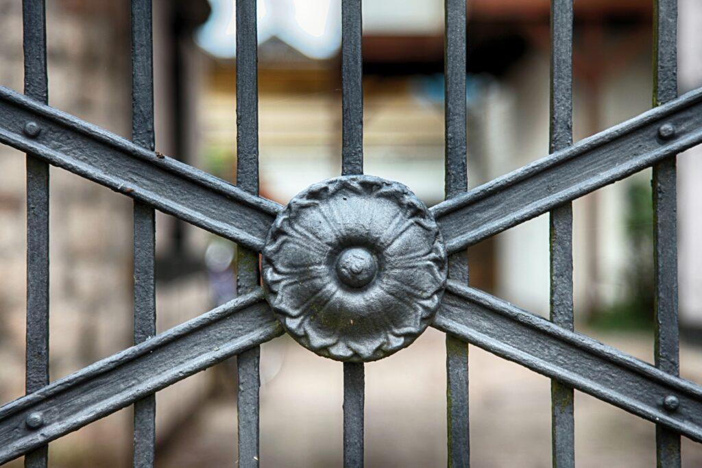 black wrought iron gate