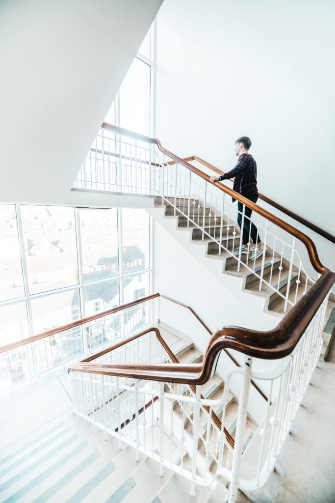 White staircase in a building