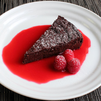 Chcolate Decadence with Raspberry Sauce