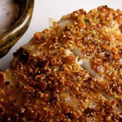 Pistachio Encrusted Halibut with Spicy Yogure Sauce
