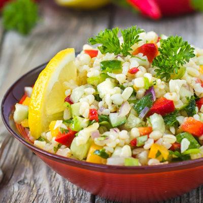 Toasted Farro & Quinoa Tabbouleh salad