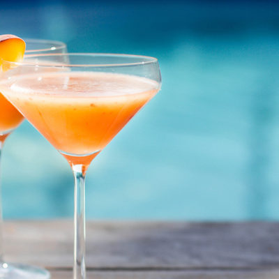 Bourbon Peach Bellini Cocktail