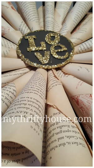 Assembling vintage book page wreath