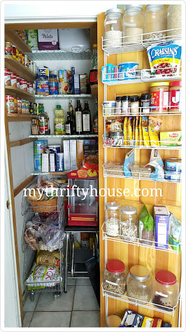 before pic of disorganized pantry 1