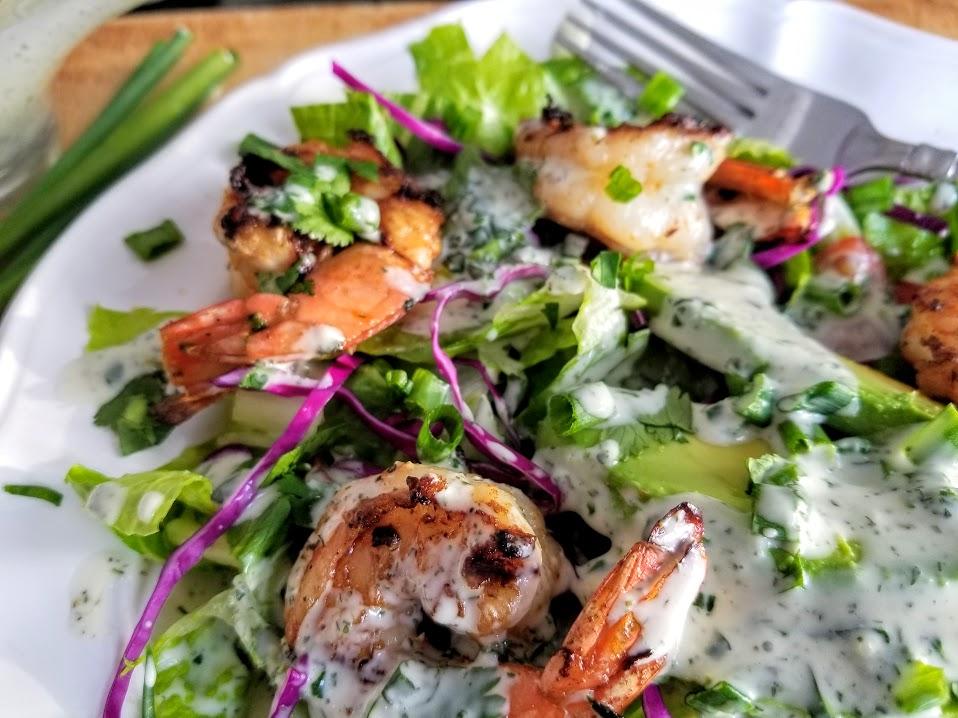 whole30 ranch dressing on shrimp salad