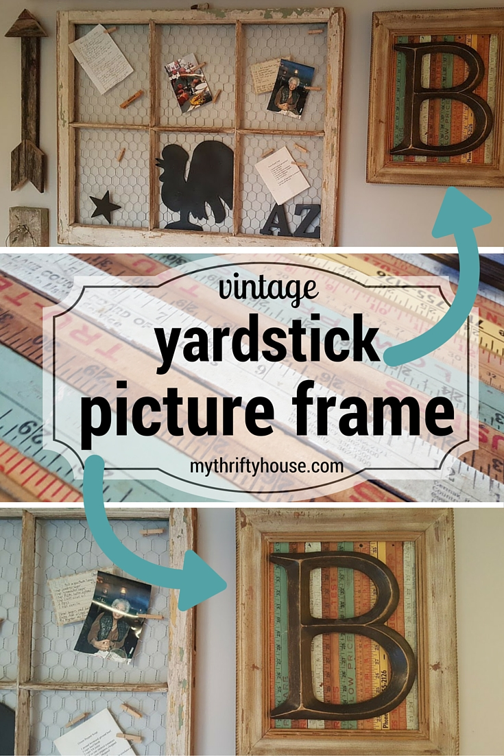 Farmhouse gallery wall with Vintage Yardstick Picture Frame