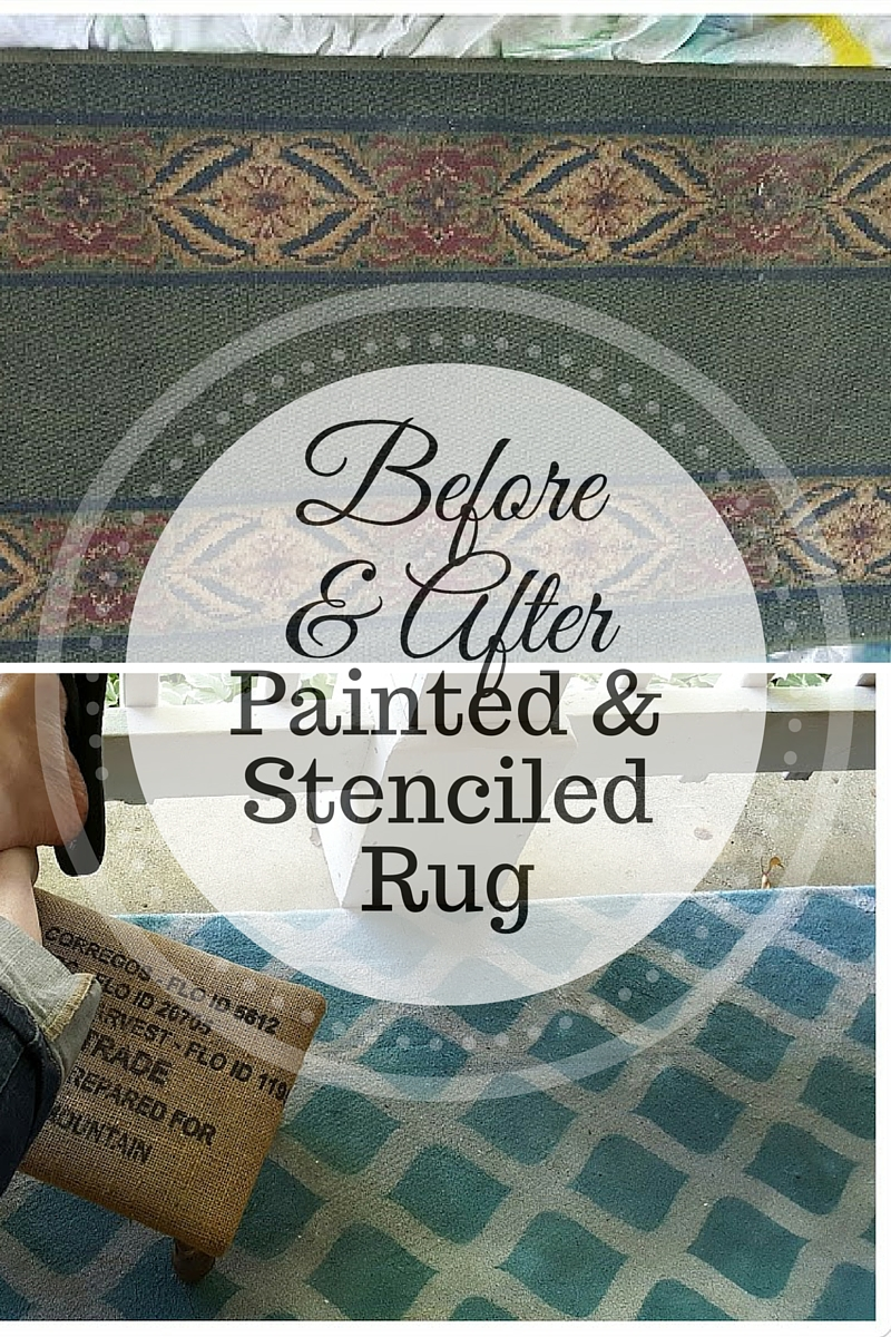 Before and after pictures of my spray painted and stenciled rug