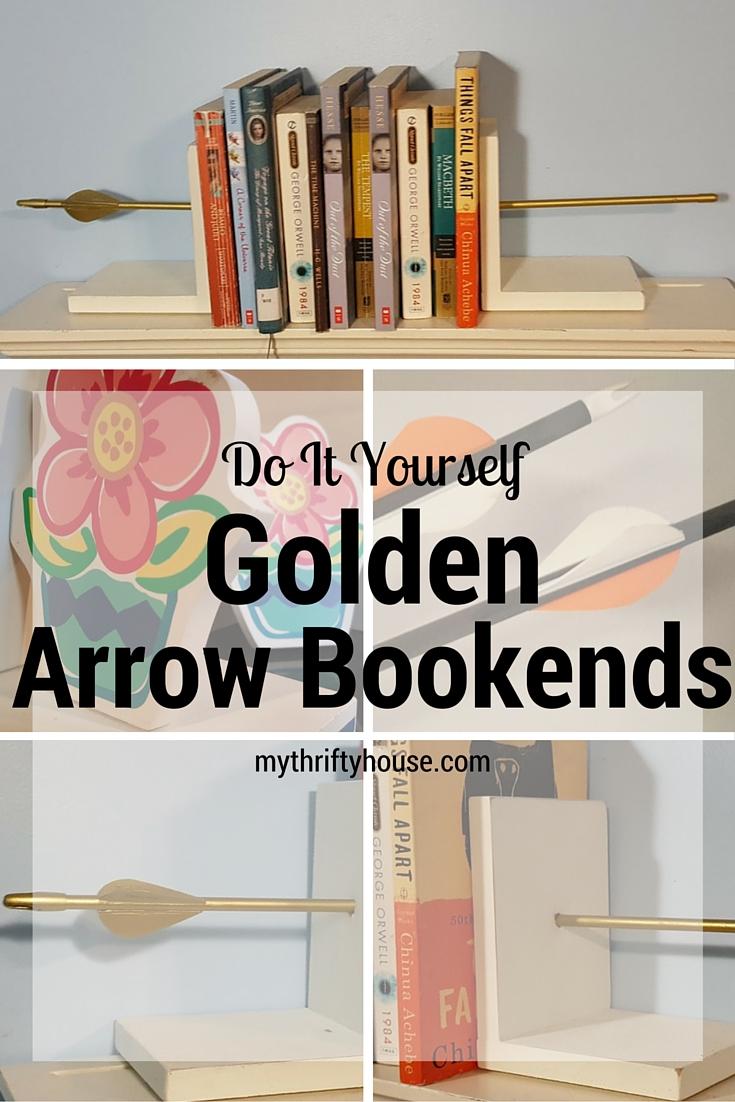 DIY Golden Arrow Bookends