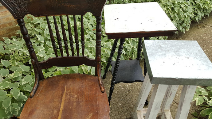 Beat up furniture collection including the Spindle LegTable makeover piece