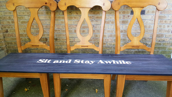 DIY Chair Bench Made with 3 Dining Room Chairs