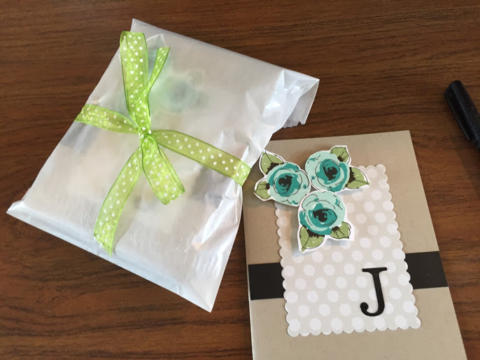 Monogram note cards made by Jenren14 on Instagram, packaged in a cello bag and ready to be given as a gift