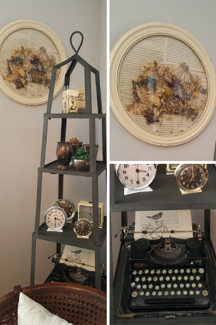 book-page-craft-projects-vintage-picture-frame-lined-with-book-pages-and-vintage-typewriter-with-stamped-book-page