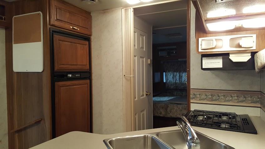 My Thrifty Glamper kitchen and fridge