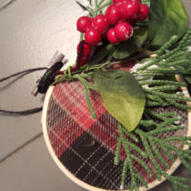 plaid flannel shirt ornament with berries and leaves