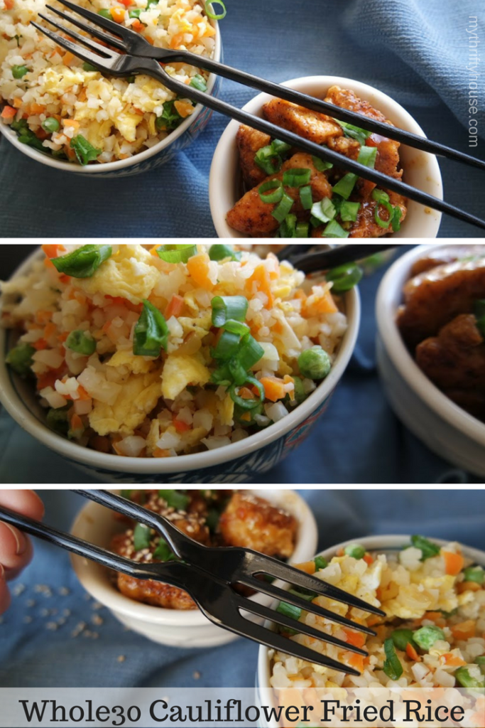 Fake Out Take Out Whole30 Cauliflower Fried Rice with Orange Chicken
