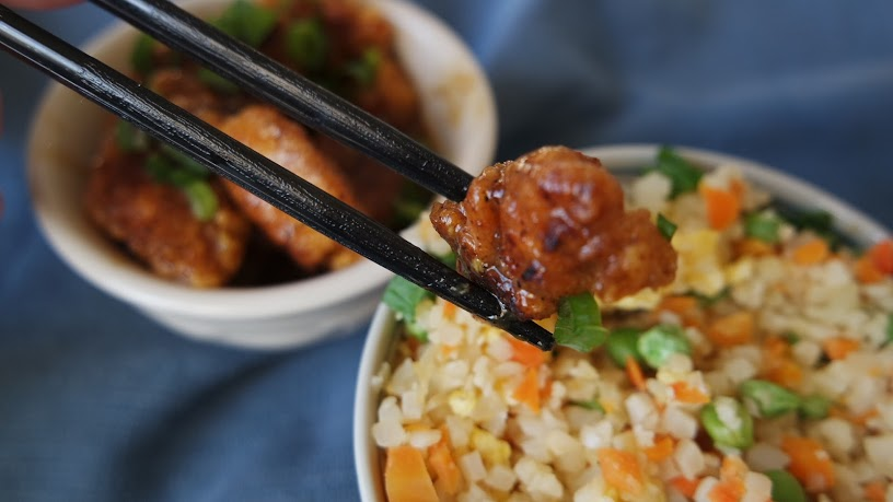 Fake Out Take Out Orange Chicken with Whole30 Cauliflower Fried Rice