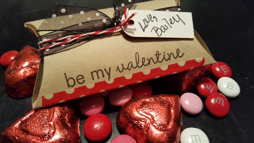 Pillow Box Valentines filled with candy.