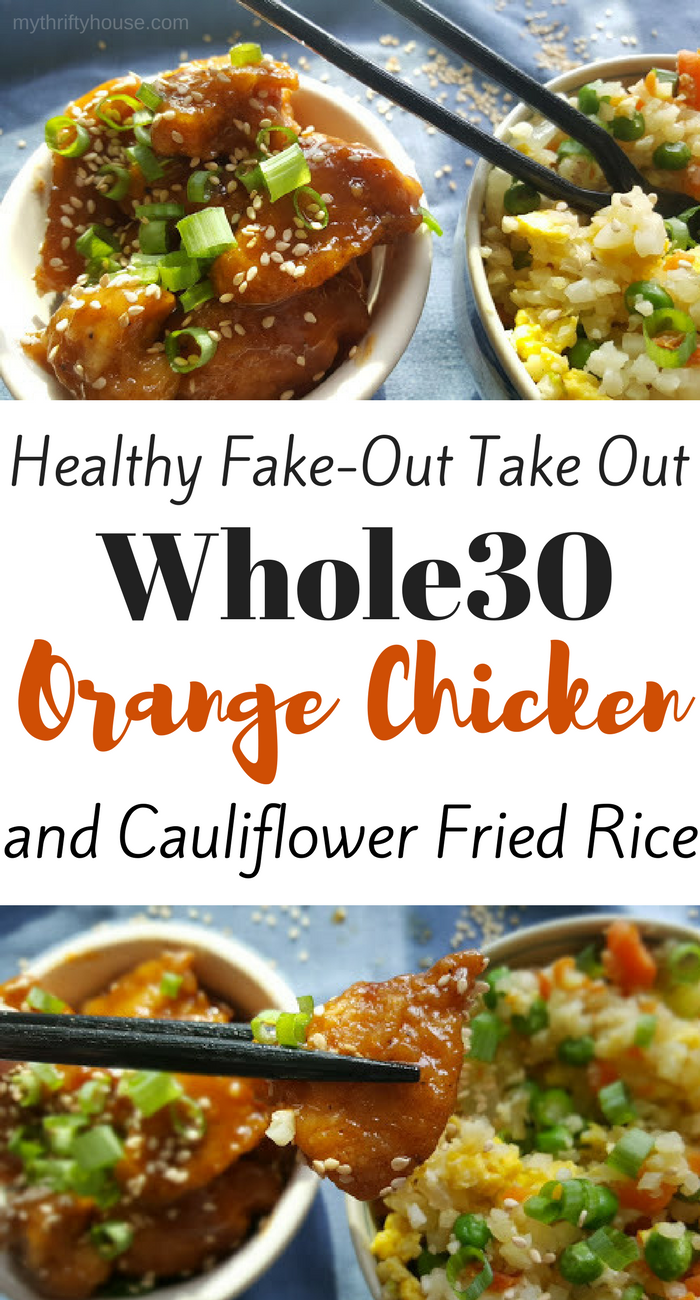 Healthy fake-out take out Whole30 orange chicken with cauliflower rice