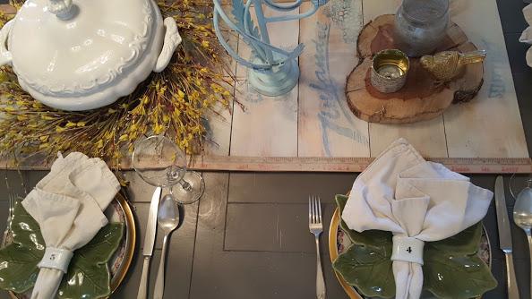 wooden farmhouse table runner set for Easter