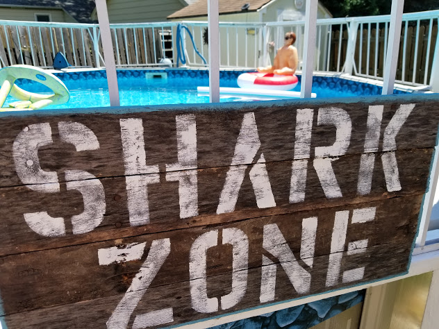 Shark zone stenciled pallet wood sign
