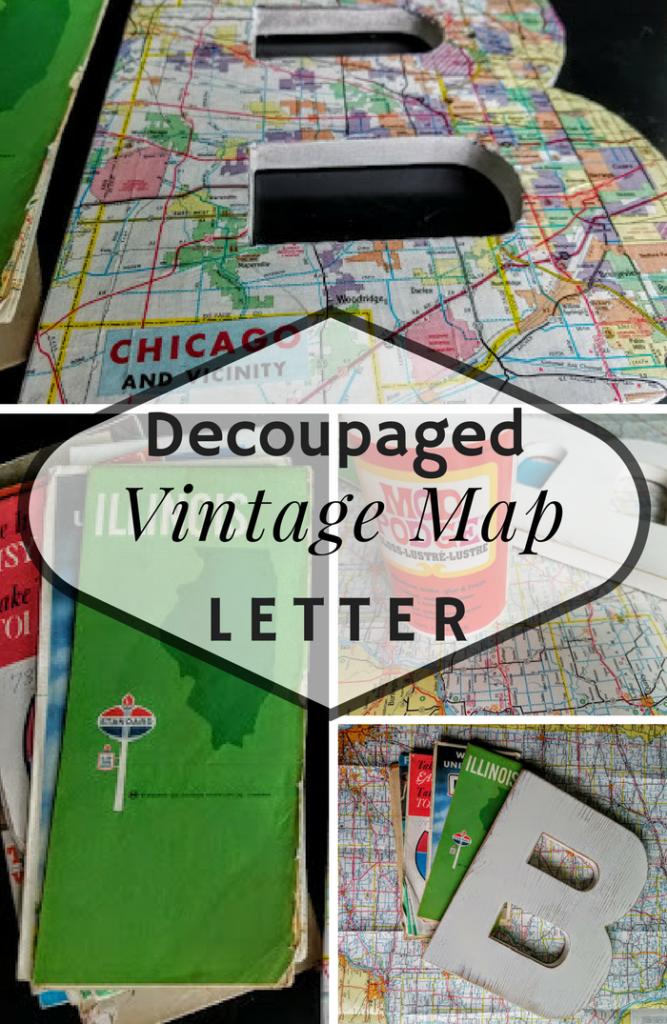 Decoupaged Vintage Map Letter
