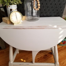 after gate leg table painted and distressed