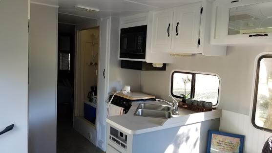 glamper living room makeover kitchen and shower