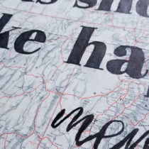 map art sign with words colored in with sharpies