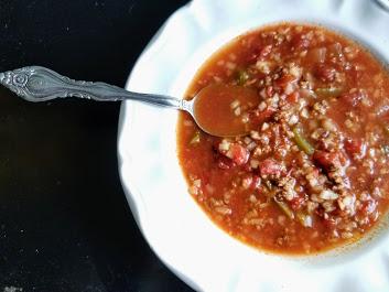 slow cooker Whole30 stuffed green pepper soup