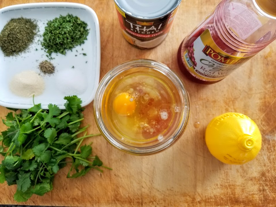 Making Whole30 creamy cilantro salad dressing