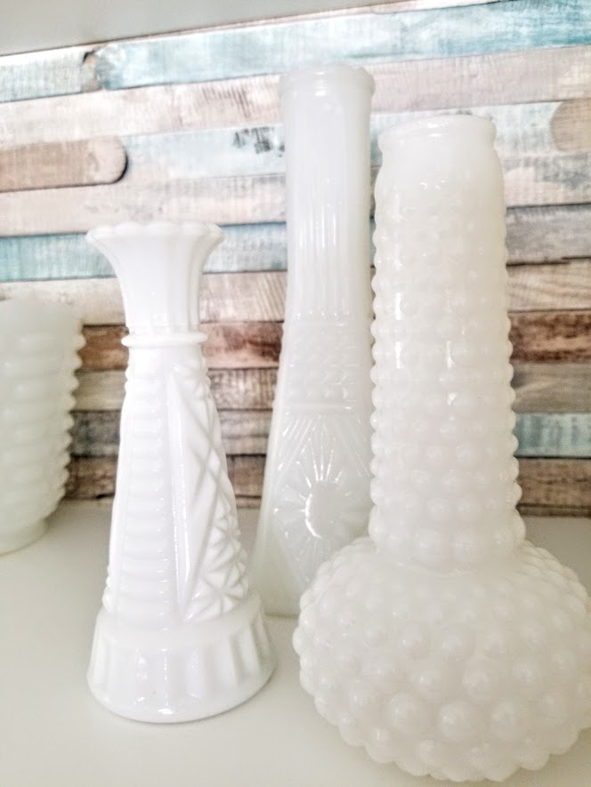 displaying milk glass bud vases