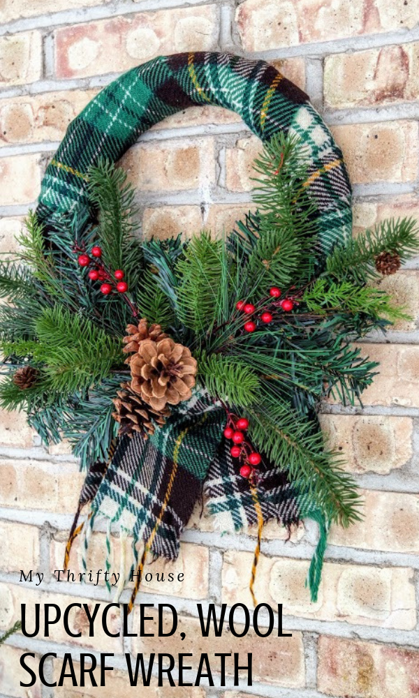 Upcycled Wool Scarf Wreath