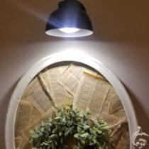 Up close pic of wireless wall sconce using magic light trick