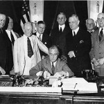 Negative Emotions: FDR & Co. in 1933 as they signed the Glass-Steagall Act.