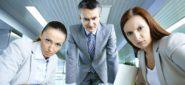 Displeasure, unhappy business people